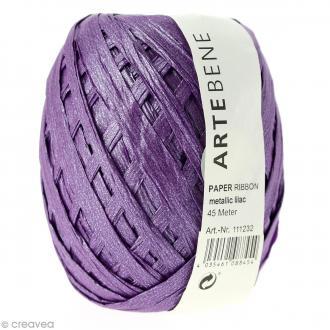 Pelote raphia - Violet lilas métallisé - 45 m