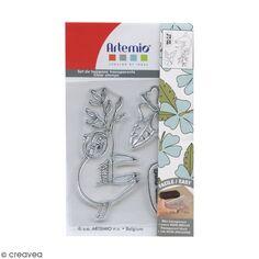 Tampons Clear Artemio - Branche et paresseux - 3 pcs