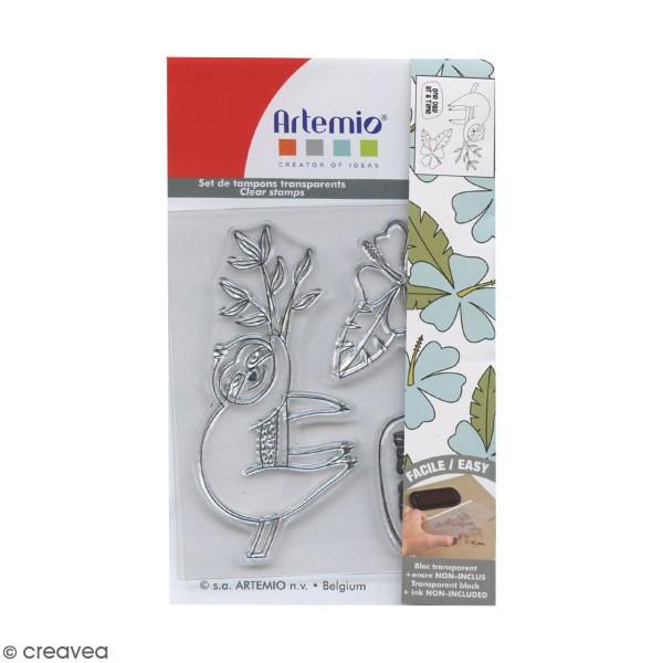 Tampons Clear Artemio - Branche et paresseux - 3 pcs - Photo n°1