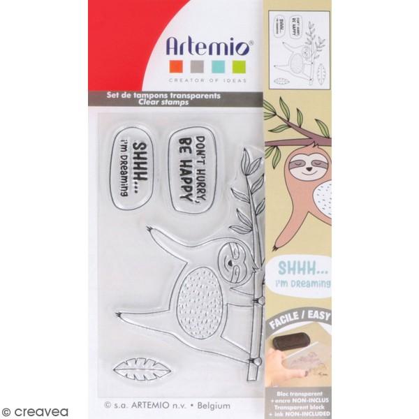 Tampons Clear Artemio - Paresseux et message - 5 pcs - Photo n°1