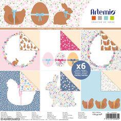 Papier scrapbooking Artemio - Lapins de pâques et poules - 30,5 x 30,5 cm - 6 pcs