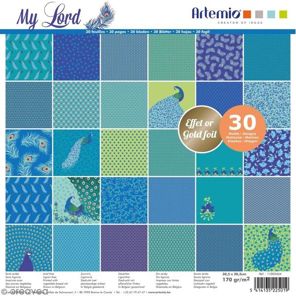 Papier Scrapbooking Artemio effet foil - My Lord - 30,5 x 30,5 cm - 30 pcs - Photo n°1