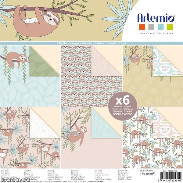 Papier scrapbooking Artemio - Paresseux - 30,5 x 30,5 cm - 6 pcs - Photo n°1