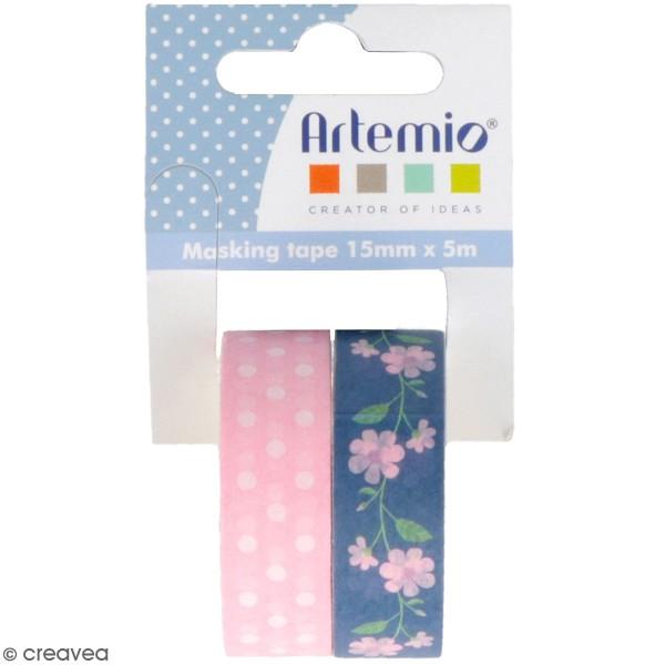 Masking Tape Artemio - Roses Pâques Chocolat - 1,5 cm x 5 m - 2 pcs - Photo n°1