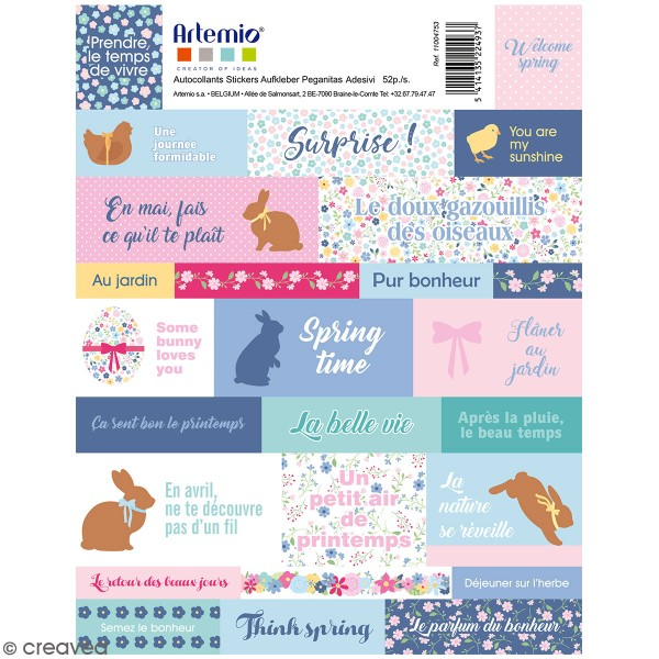 Stickers Artemio textes - Pâques Chocolat - 52 pcs - Photo n°1