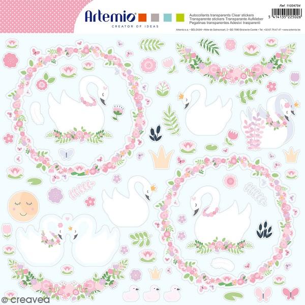 Autocollants transparents Artemio - Lovely Swan - 65 pcs - Photo n°1