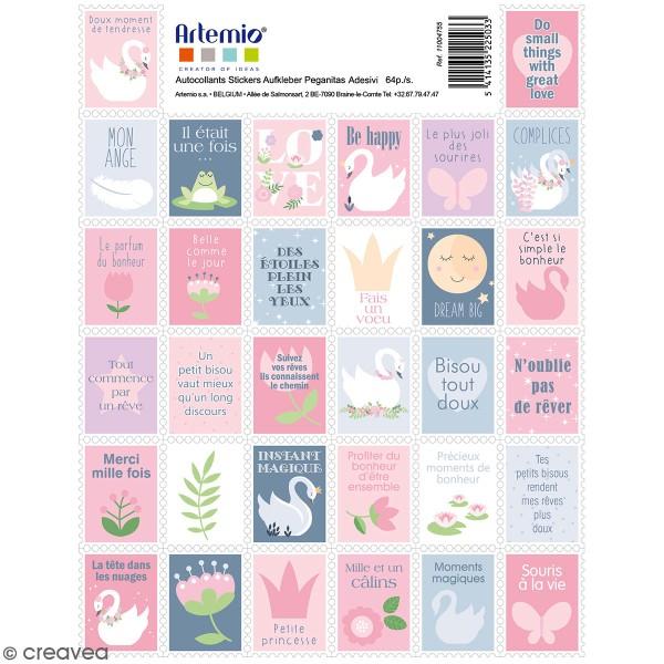 Stickers timbre décoratifs - Lovely Swan - 3,3 x 2,7 cm - 64 pcs - Photo n°1