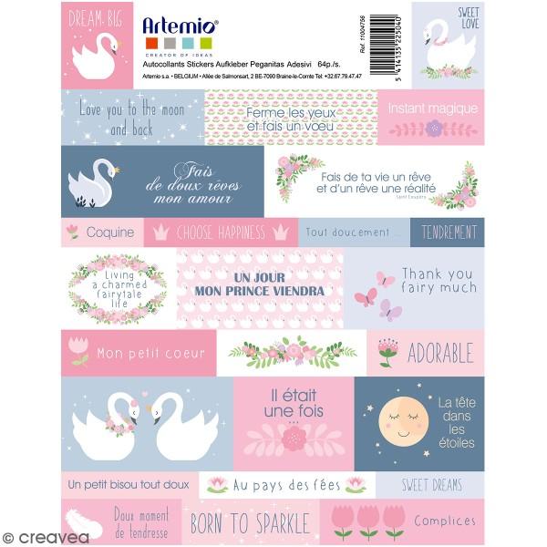 Stickers Artemio textes - Lovely Swan - 64 pcs - Photo n°1