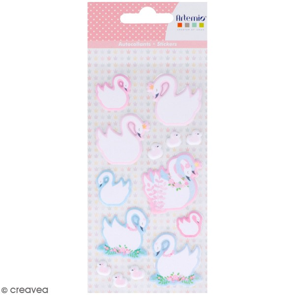 Stickers Puffies Lovely Swan - Cygnes - 14 autocollants - Photo n°1