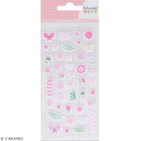 Stickers Puffies Lovely Swan - Fleurs - 42 autocollants