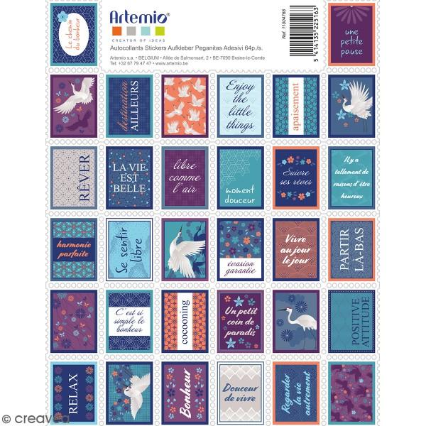 Stickers timbre décoratifs - Japan - 3,3 x 2,7 cm - 64 pcs - Photo n°1