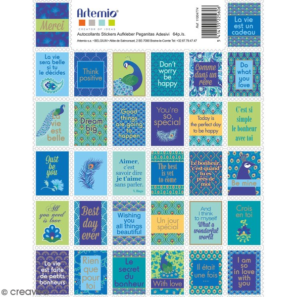 Stickers timbre décoratifs - My Lord - 3,3 x 2,7 cm - 64 pcs - Photo n°1