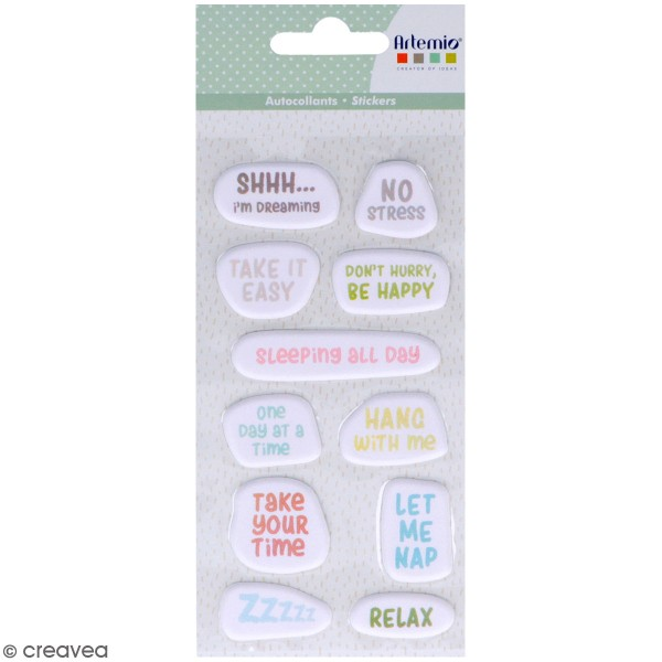 Stickers Puffies No Stress - textes - 11 autocollants - Photo n°1