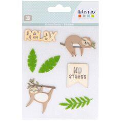 Stickers bois et feutrine No Stress - 7 pcs