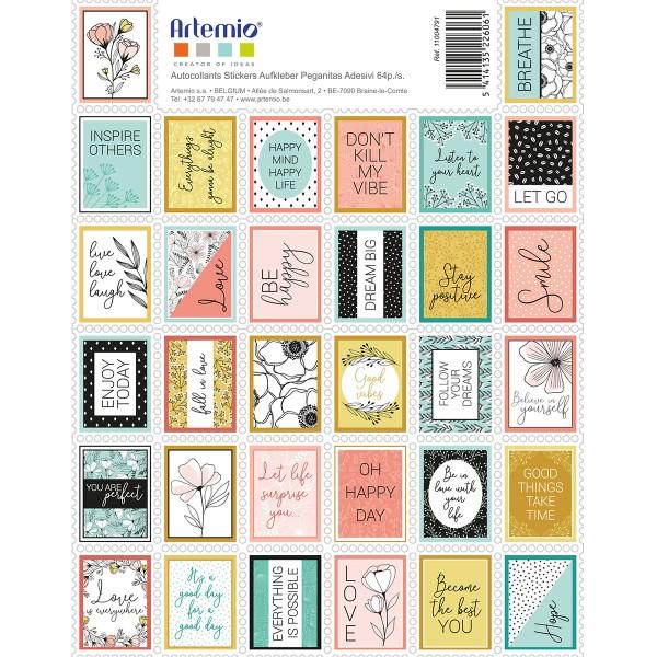 Stickers timbre décoratifs - Good Vibes - 3,3 x 2,7 cm - 64 pcs - Photo n°1