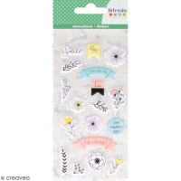 Stickers puffies Fleurs - Good vibes - 18 autocollants
