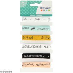 Ruban Artemio textes - Good vibes - 1 cm x 1 m - 6 pcs