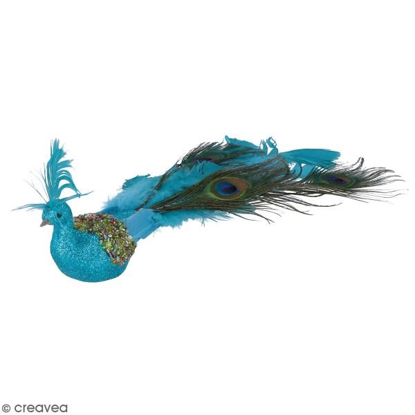 Oiseau décoratif en plume - Paon bleu pailleté - 30 x 10 x 6 cm - Photo n°1
