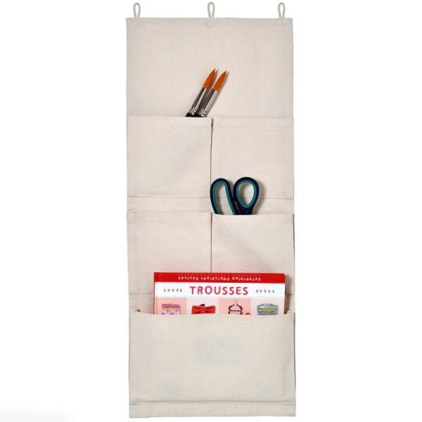 Vide poche mural en tissu - 27 x 65 cm - 5 poches - Photo n°1