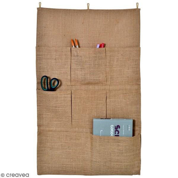 Vide poche mural en toile de jute naturelle - 80 x 50 cm - 8 poches - Photo n°1