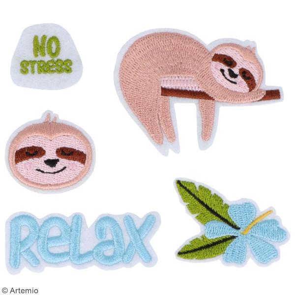 Assortiment d'écussons brodés thermocollants - No Stress - 5 pcs - Photo n°2
