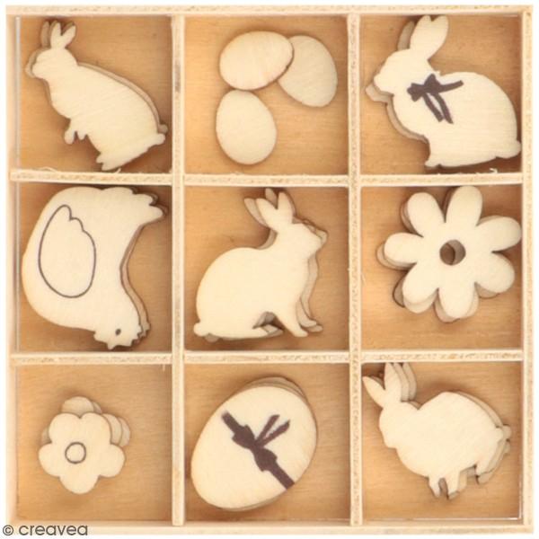 Set de mini silhouettes en bois - Pâques Chocolat - 1 à 2,5 cm - 33 pcs - Photo n°1
