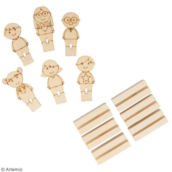 Lot de Porte-noms Personnages en bois - 6,5 cm - 6 pcs - Photo n°3