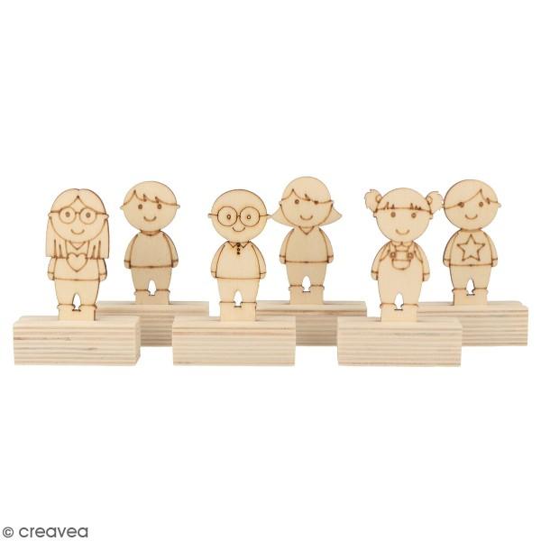 Lot de Porte-noms Personnages en bois - 6,5 cm - 6 pcs - Photo n°1