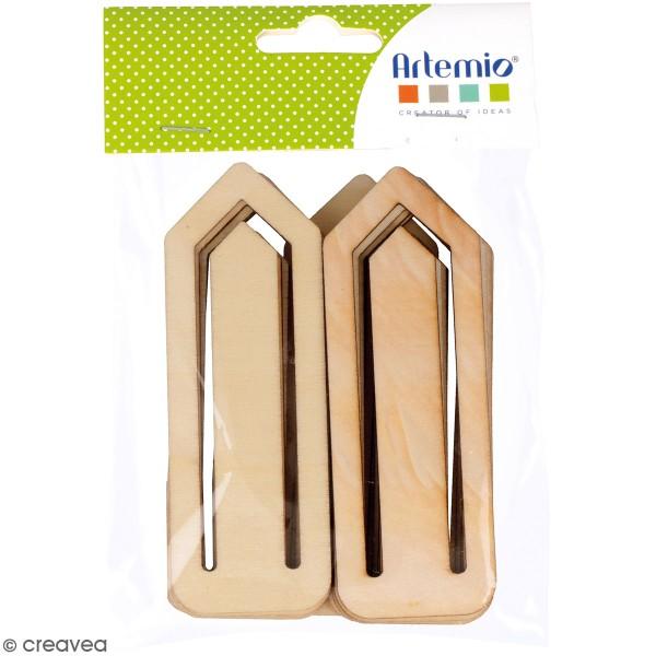 Pince trombone en bois à décorer - 4 x 11 cm - 12 pcs - Photo n°1