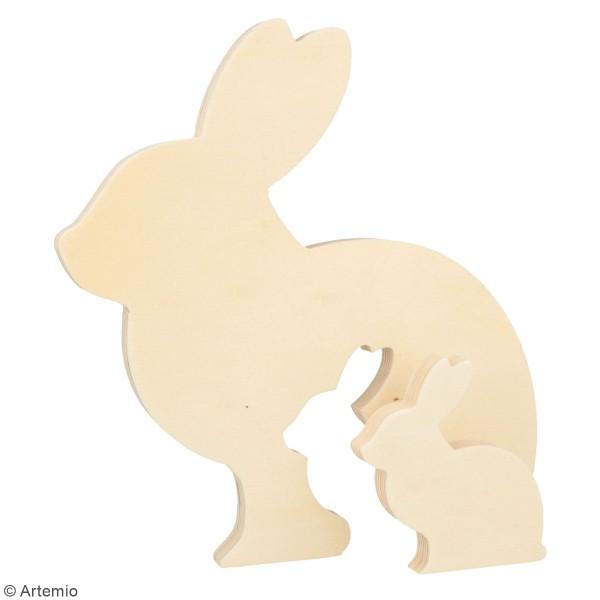 Formes en bois à décorer Pâques Chocolat - Lapins gigognes - 20 et 7,5 cm - 2 pcs - Photo n°2