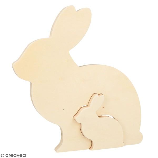 Formes en bois à décorer Pâques Chocolat - Lapins gigognes - 20 et 7,5 cm - 2 pcs - Photo n°1