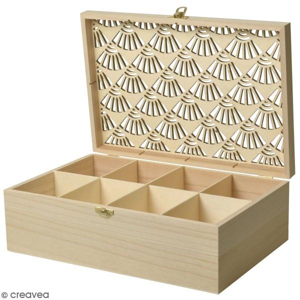 Boîte à thé en bois à décorer - Japan - 6 compartiments - 30 x 20 cm - Photo n°1