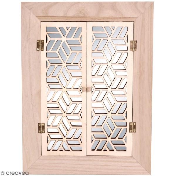 Miroir à portes en bois à décorer - Japan - 30 x 40 cm - Photo n°1