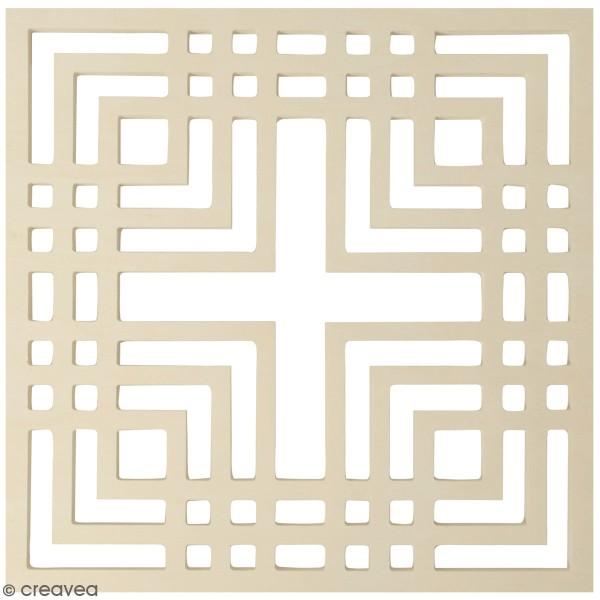 Tableau bois ajouré à décorer - Motif Japan carré - 30 x 30 cm - Photo n°1