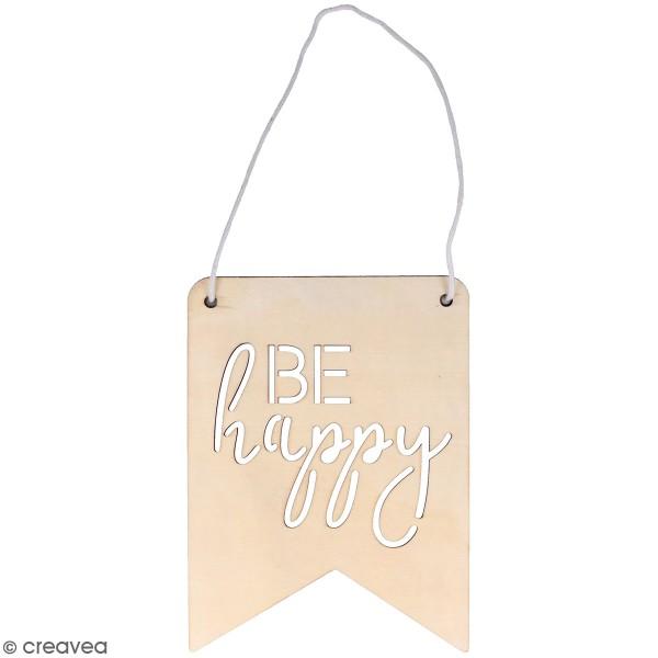 Fanion en bois à décorer Good Vibes Artemio - Be Happy - 16,5 x 22 cm - Photo n°1