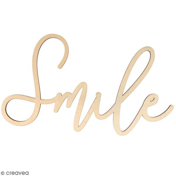 Mot en bois à décorer - Smile - 30 x 16,5 cm - Photo n°1
