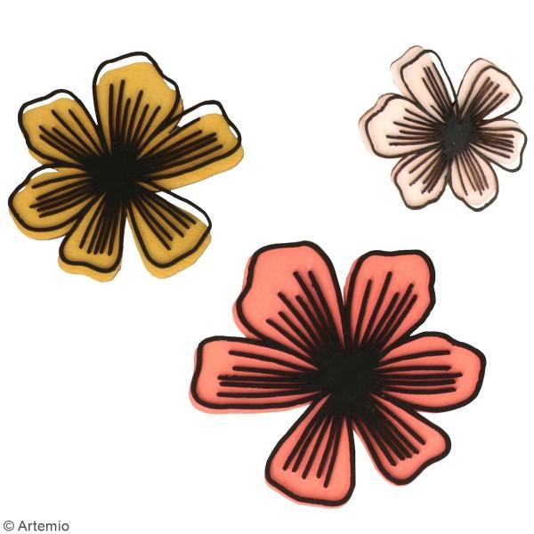 Petites formes en bois à décorer - Fleurs Good Vibes - 18 pcs - Photo n°2