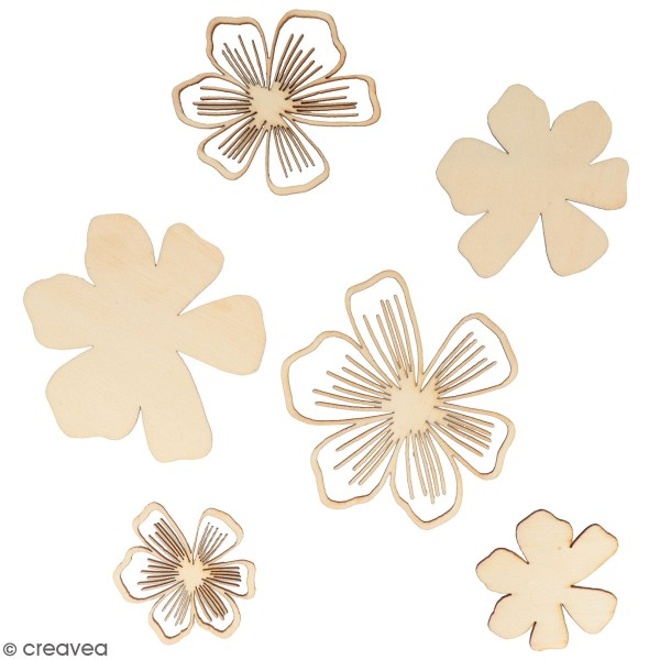 Petites formes en bois à décorer - Fleurs Good Vibes - 18 pcs - Photo n°1