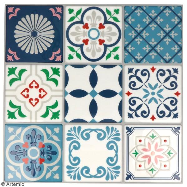 Stickers carreaux de ciment 8 cm - Blanc, bleu, vert, rouge - 18 carreaux - Photo n°2