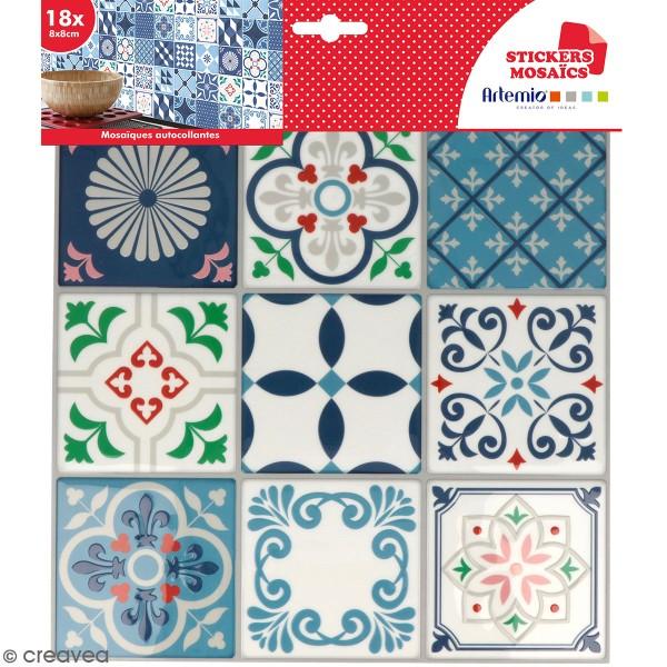 Stickers carreaux de ciment 8 cm - Blanc, bleu, vert, rouge - 18 carreaux - Photo n°1