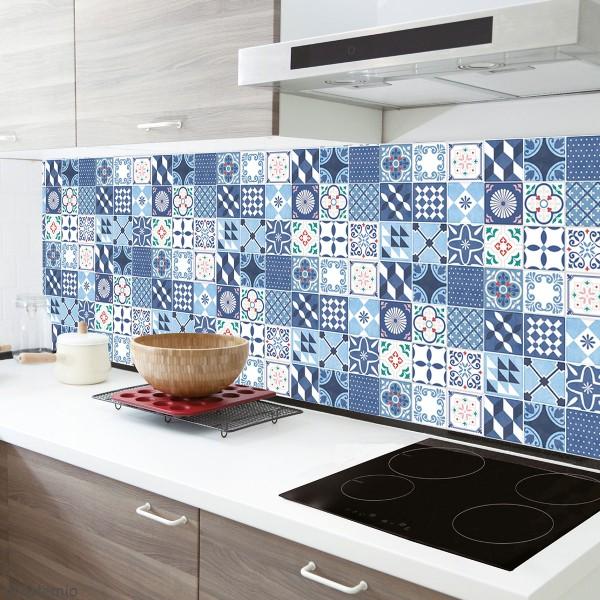 Stickers carreaux de ciment 8 cm - Gris, bleu, vert, orange - 18 carreaux - Photo n°3