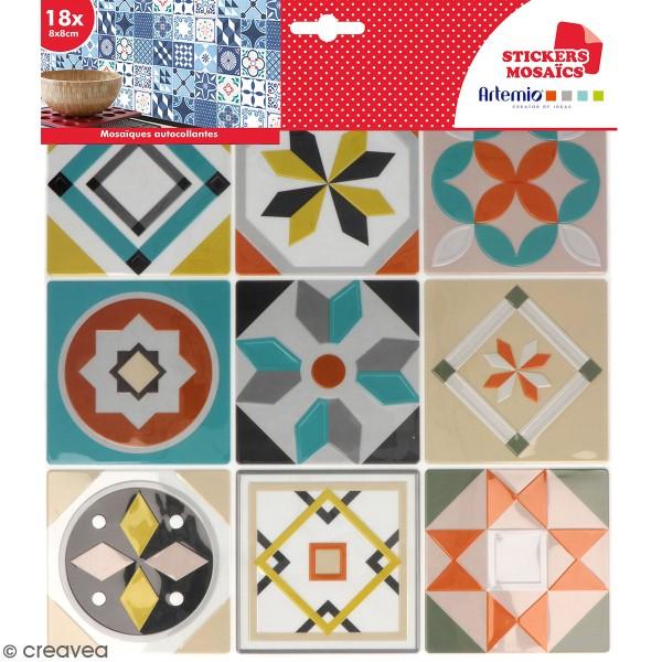Stickers carreaux de ciment 8 cm - Gris, bleu, vert, orange - 18 carreaux - Photo n°1
