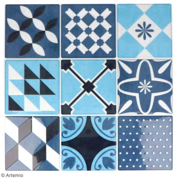 stickers carreaux de ciment 8 cm bleu 18 carreaux carreaux de ciment creavea. Black Bedroom Furniture Sets. Home Design Ideas
