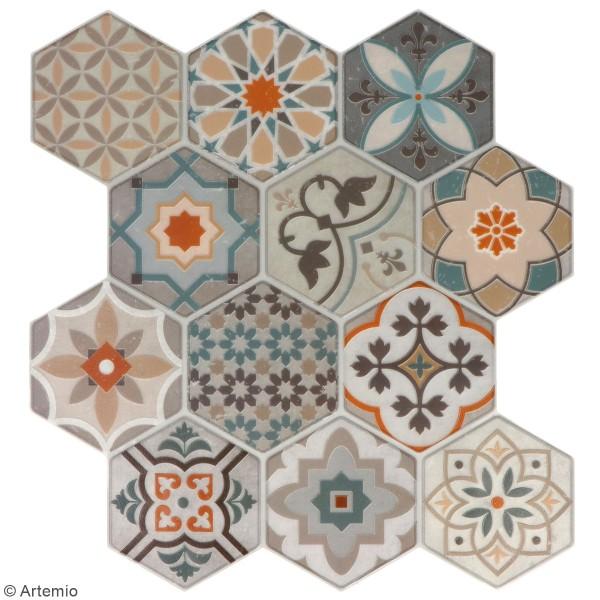 stickers carreaux de ciment hexagonaux beige 24 carreaux carreaux de ciment creavea. Black Bedroom Furniture Sets. Home Design Ideas