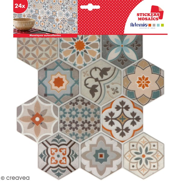 stickers carreaux de ciment hexagonaux beige 24. Black Bedroom Furniture Sets. Home Design Ideas