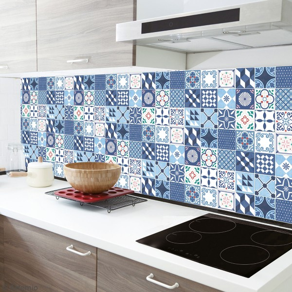 stickers carreaux de ciment 4 cm bleu 30 carreaux carreaux de ciment creavea. Black Bedroom Furniture Sets. Home Design Ideas