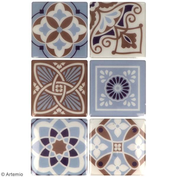 Stickers carreaux de ciment 6,5 cm - Marron - 12 carreaux - Photo n°2