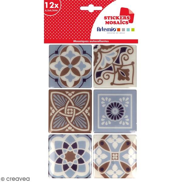 Stickers carreaux de ciment 6,5 cm - Marron - 12 carreaux - Photo n°1