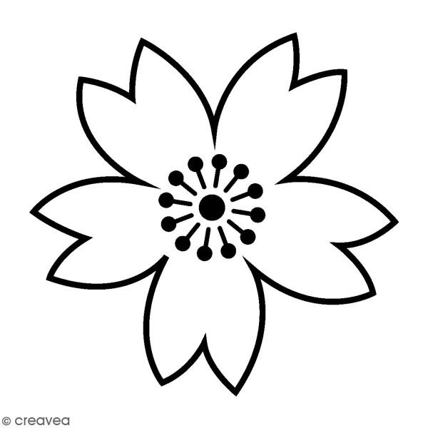 Tampon Bois Japan Artemio - Fleur contours - 2,5 x 2,5 cm - Photo n°1