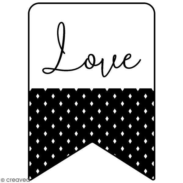 Tampon Bois Good Vibes Artemio - Fanion love - 2,5 x 3,5 cm - Photo n°1